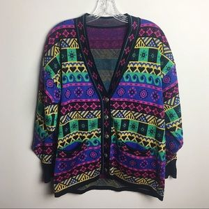 Patterned Colorful Vintage Cardigan Sweater